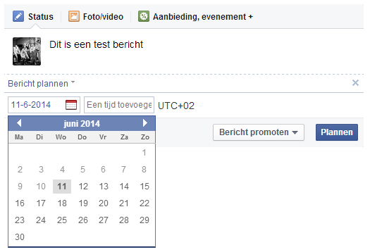 Facebook bericht inplannen